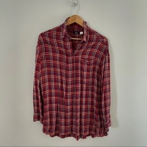 Oversized button up top with side slits